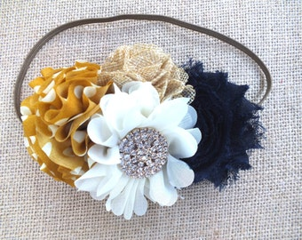 Navy and Mustard Headband, Fall Headband, Shabby Flower headband, baby headband, Mustard headband, mustard hair bow, fabric flower headband