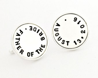 Sterling Silver Cuff Links - Custom Father of the Bride Wedding Date Gift for Him - Personalized Cufflinks for Groom, Bridal Party Gift Idea