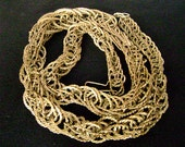 Vintage Brutalist Chain Necklace Modernist Industrial Brass Twisted Multi Chain Snake Necklace 1970's Abstract Avant Garde Jewelry