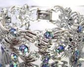 Vintage Coro Pegasus Blue AB Rhinestone Bracelet Rhodium Plated Coro Wide Link Bracelet 1950's Bridal Jewelry Something Blue