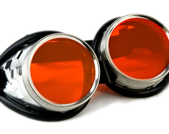 Pawstar Standard Uber Goggles UV Orange Neon Metal Industrial Cyber Goth Punk Cybergoth Cyberpunk Steampunk Rave custom light up 5412