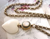 Valentine Gift Heart Pendant, Long Necklace Antique Pearl Button c.1880, Hearts, White Valentine Gift for Her, Button Jewelry veryDonna