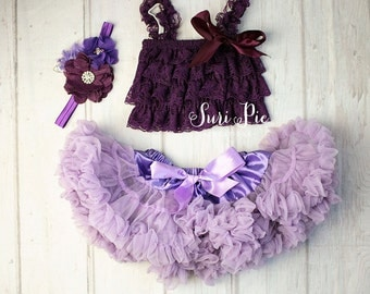 Baby Girl 1st Birthday Clothing..Cake Smash Outfit..Lavender Plum Skirt Top Set..Baby's 1st Birthday Outfit..Photography Prop..Birthday Gift
