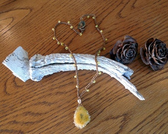 "Ready To Ship 22"" Bead Crochet Necklace With Yellow Stalactite Pendant"
