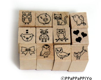 Cute Rubber 07 Stamp Set