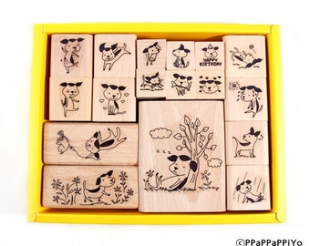 Dog set rubber stamp (17pcs)
