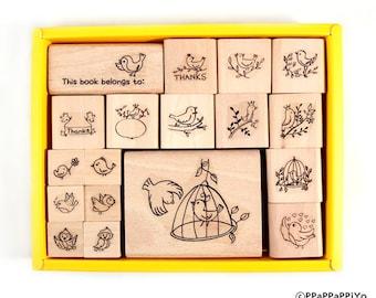 Bird set rubber stamp (18pcs)