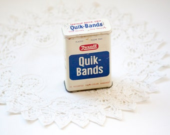 Quik Bands Rexall Tin, bandages