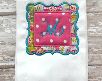 Hot Pink & Teal Embroidered Burp Cloth Rag with Initial