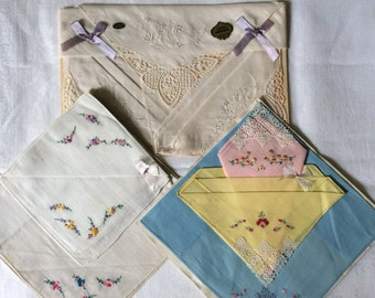 TRIO of Vintage Hankie Gift Packs, 9 Hankies in ALL