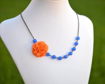 Orange Carnation and Royal Blue Jade Asymmetrical Necklace, Carnation Flower Necklace, Orange and Blue Asymmetrical Necklacee
