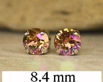 Purple Haze Earrings, Swarovski Studs, 8.4mm,  Xirius, Crystal  Earrings, Rhodium Siver Settings, Rhinestone Studs, Handmade Earrings