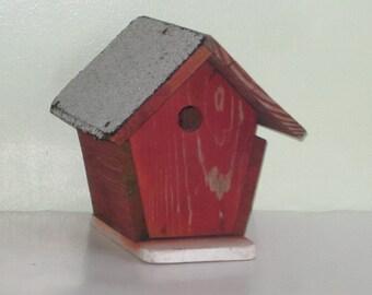 Vintage Rustic Worn Red Wood Birdhouse
