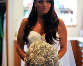 Ready to Ship Crystal Brooch Bouquet Similar to Snooki Nicole LaValle's