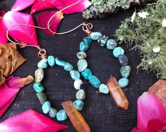 Turquoise & peach Quartz point hoops - Copper wire wrapped handmade earrings