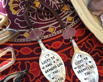 Vintage SPOON hand stamped - Made to order - heartfelt necklace - gemstone of choice