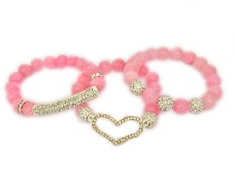 NEW Pink Rhinestone Heart Swarovski Beaded Womens Kids Fashion Bracelet Love