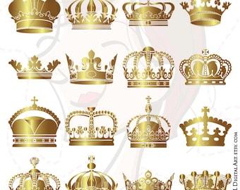 Gold Crowns Digital Clip Art Crown Royal Clipart Scrapbook School Teacher Royal King Prince Crowns Commercial Use INSTANT DOWNLOADS 10233
