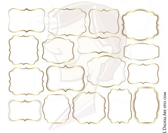 Digital Frames Gold Border Clipart Commercial Use Clip Art Label Tags Make Your Own DIY Wedding Invitation Birthday Scrapbook 10292