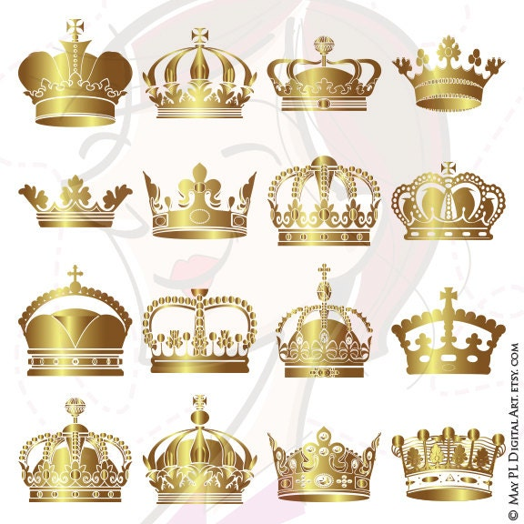 Gold Crowns Digital Clip Art Crown Royal Clipart Scrapbook