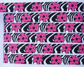 "12Yd Dk Pink Daisy 3/8"" Printed Black Stripe Grosgrain Ribbon"