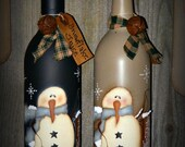 Primitive Handpainted Snowman Wine Bottle