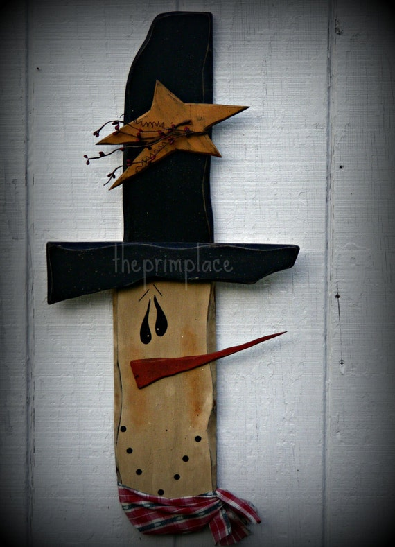 Primitive Christmas Wall Decor : Items similar to large primitive snowman wall hanging