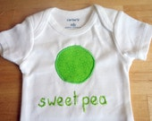 Custom listing for Cindy: SWEET PEA Onesie / Bodysuit - Baby Girl or Boy, Short Sleeve - Size 3 months