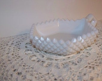 Westmoreland 1960 Hobnail milk glass with handle candy/nuts dish