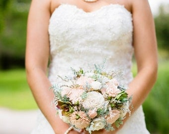 Wedding Bouquet, Sola wood Bouquet, Bridal Bouquet, Alternative Bouquet, Sola Bouquet, Sola flowers, Wood Bouquet, Pale pink bouquet