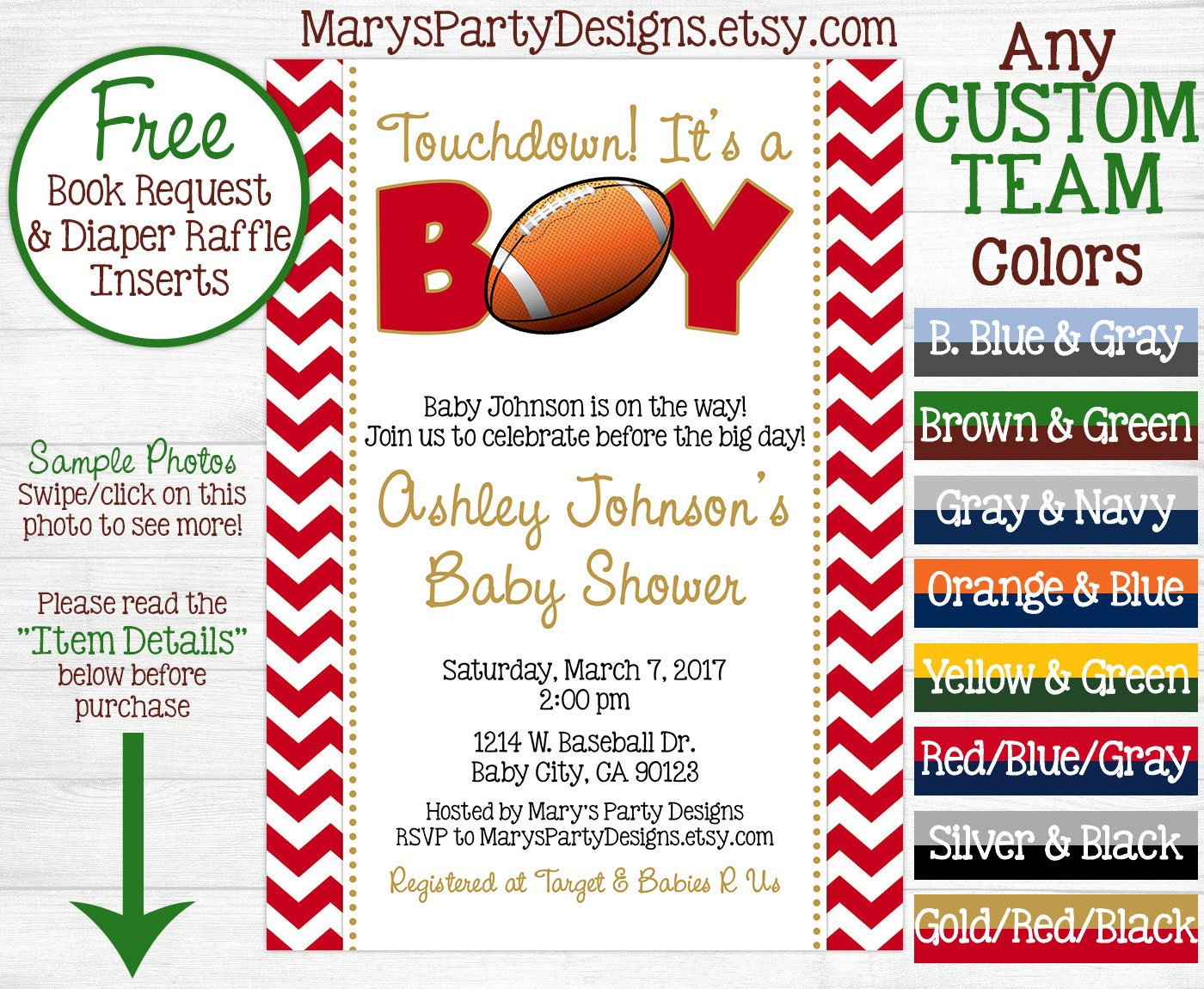 football baby shower invitation tailgate by maryspartydesigns