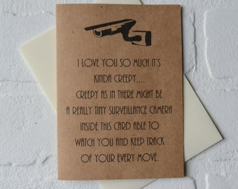 I LOVE YOU so much it's kinda creepy love cards just because card creepy love card funny rustic card retro kraft cards