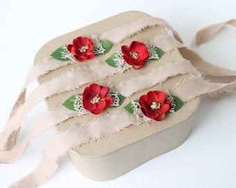Christmas Red and Green with Natural Lace on Tan Linen Tieback Halo Headband - Newborn, Baby, Toddler, Child