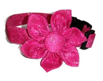 Dog Collar Flower Set Hot Pink Glitter Adjustable Dog Collar With Leash