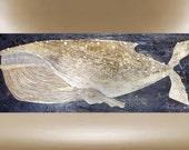 Original whale painting textured modern impasto art 40x16 FREE SHIPPING