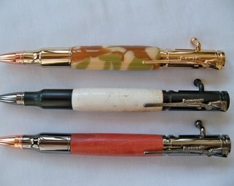 Bolt Action - 30 Caliber Replica Cartridge - Rose Gold Bullet Tip - Rifle Clip