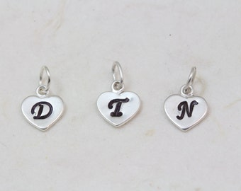 Add Sterling Silver Heart with initial to your Necklace
