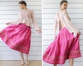 Plus size vintage bright pink cotton linen embroidery tiered full circle ankle maxi skirt