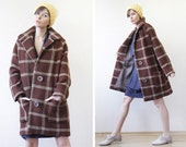 Vintage brown beige waffle plaid single breasted baggy swing cocoon winter short jacket coat S