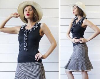 DOLCE GABBANA vintage black silk cotton ruffled polka dot jabot collar sleeveless blouse top XS S