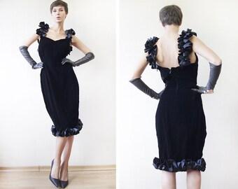 CORINNE TOROSS Paris black velvet frilly satin hem curvy bodycon midi dress M-L