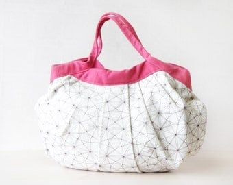 White pink canvas soft fabric lady's small hand pouch bag