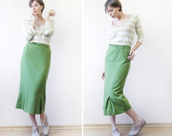 Vintage green wool front pleat over the knee length fitted pencil midi skirt S-M
