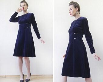 Vintage midnight blue velvet long sleeve closed modest midi dress XS-S