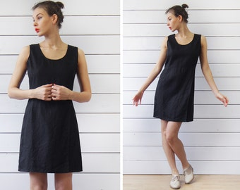 Vintage little black linen sleeveless wrap skirt slit minimalist summer mini dress XS-S