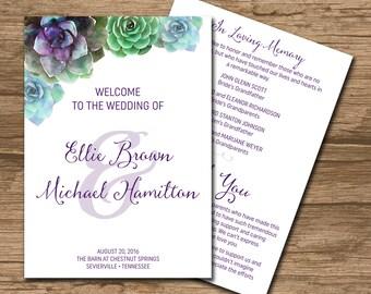 Succulent Wedding Program, Ceremony Program, Booklet style - PRINTABLE files - watercolor succulents, watercolor, rustic wedding - Ellie