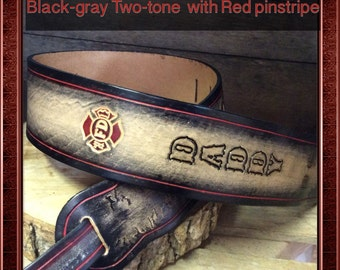 Great  gift Personalized adjustable Leather Guitar strap with a beautiful red pinsripe  and you choose the design.