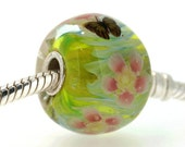 "Big Lampwork glass bead European Charm Focal bead ""Blooming"" Sterling silver core big hole 39 By Shirley"