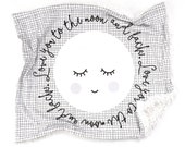 Baby Blanket Monochrome Love You To The Moon and Back. The Cloud Blanket. Lovey. Faux Fur Baby Blanket. Minky Baby Blanket.
