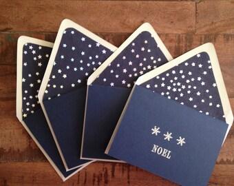 SALE! Handcrafted Noel Christmas Card Set of 4